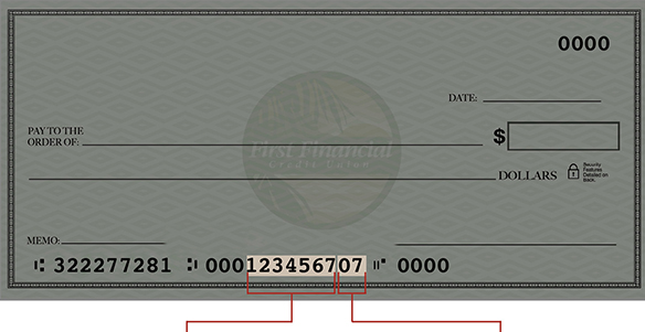 image of check with member number highlighted