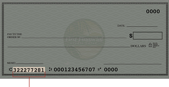 check with routing number highlighted